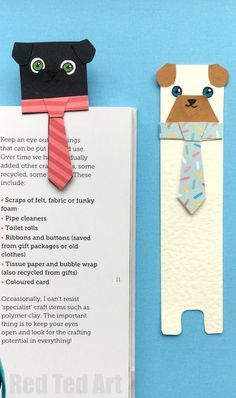 "Hug a Book Pug Bookmark DIY - Includes FREE PRINTABLE - a super cute and fun DIY Bookmark Idea for dog and animal lovers. Check out these adorable ""hug a book"" Pug Bookmark designs - make them from scratch or use our handy free templates to cut and colour. So cute!! Love love love. Happy Reading everyone! (Makes a nice ""Male teacher's gift"" too, don't you think?)"