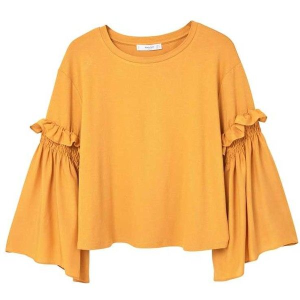 MANGO Flared Sleeve T-Shirt found on Polyvore featuring tops, t-shirts, blusas, shirts, bell sleeve shirt, mango shirts, yellow t shirt, round top and yellow ruffle shirt