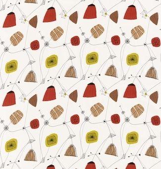 Perpetua Fabric Mustard/Red DFIF220054, £31.00 (http://www.britishwallpapers.co.uk/perpetua-fabric-mustard-red-dfif220054/)
