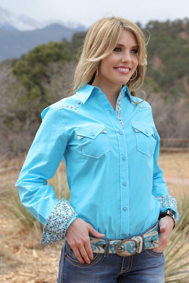 Cruel Girl Bright Blue Studded Button Down Shirt