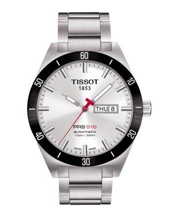 Montre TISSOT Homme PRS516 automatique, cadran blanc, modèle avec verre saphir et bracelet en acier.