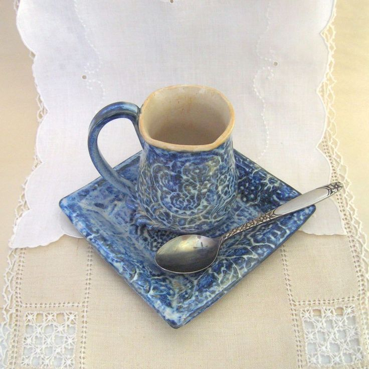 Hand Built Stoneware Demitasse And Saucer Set Tea Cup