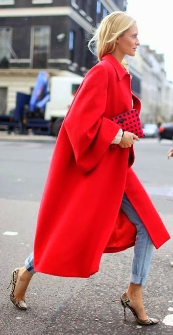 Red trench coat, boyfriend jeans, heels