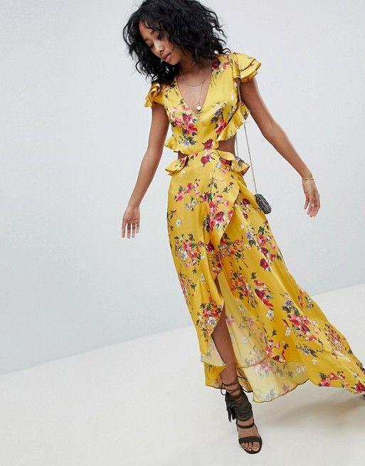 Floral Volantes Largo Amarillo Con Estampado Asos Y Vestido 7Kazqw11F