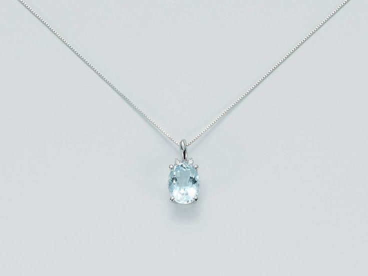 Collier (CLD3194) in oro bianco 18 kt con diamanti taglio brillante, Pt.tot. 2, e acquamarina taglio ovale, Ct. 1,6 - € 428,00  #ParrottaGioielli #beloved