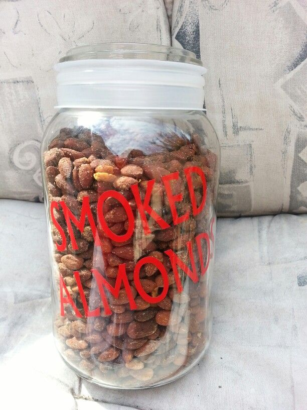 Decal on a huge mason jar Filled with homemade smoked almonds