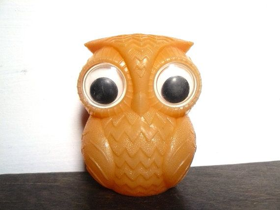 Sad Owl Soviet orange plastic toy Home decor Soviet by AtticSpider, $15.00
