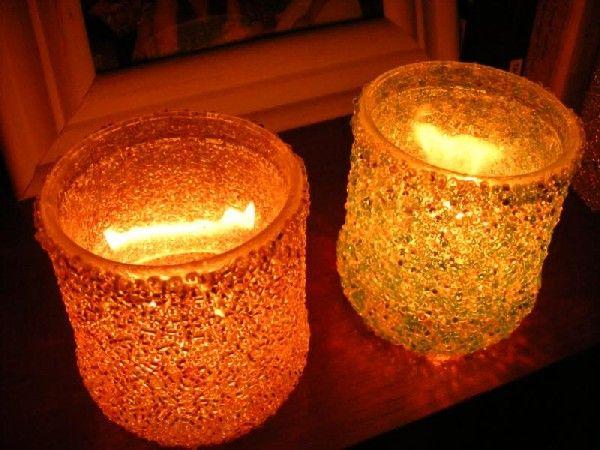 Luminarias com copos de vidro Luminárias a partir da reutilização de copos de vidro