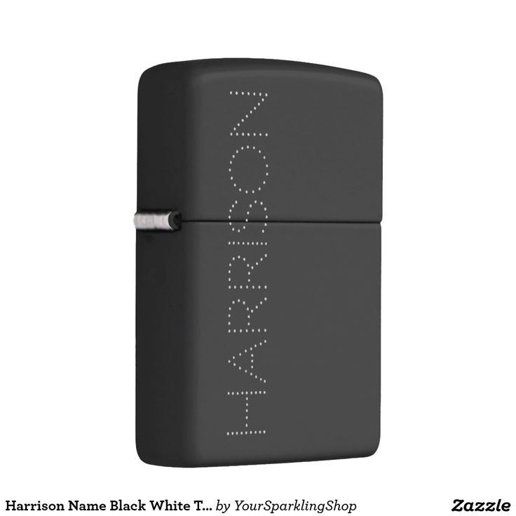 Harrison Name Typography Dots ZIPPO Lighter #addyourname #blackwhite  #giftideas