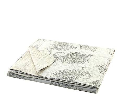 INDIAN PASSION: trapunta fatta a mano in cotone grigio e bianco - 270x220 cm