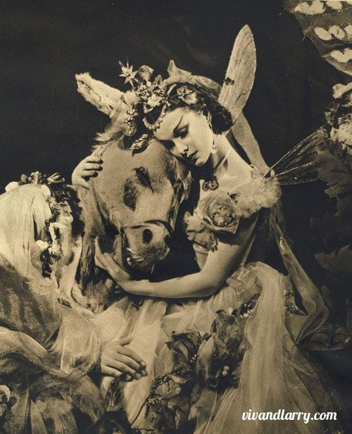 Vivien Leigh in A MIDSUMMER NIGHT'S DREAM, 1938.  This was Tyrone Guthrie's production at the Old Vic starring Vivien as Titania the faerie queen, Robert Helpmann as Oberon and Ralph Richardson as Bottom. Costumes by the fabulous Oliver Messel with music by Felix Mendelssohn.