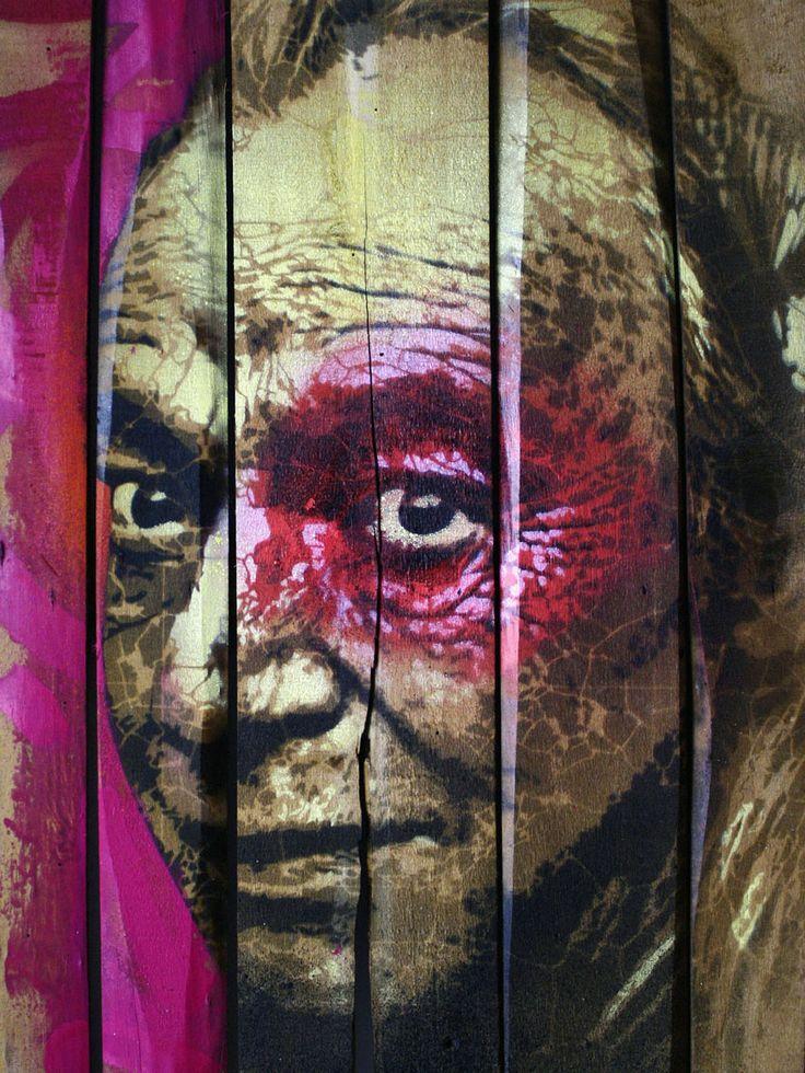 ORTICANOODLES, Portrait of Simon Vinkenoog, Stencil on found object, 52x65 cm, 2013