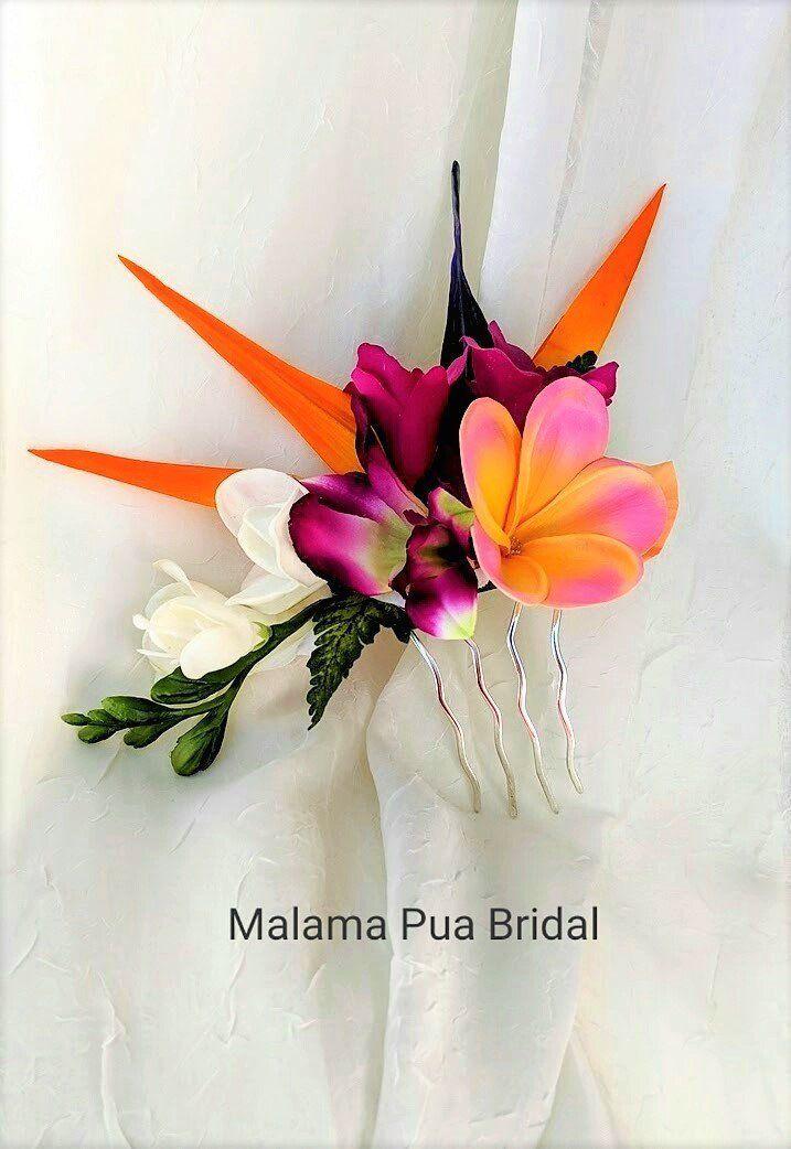 Wedding Hair Comb Hair Accessory Tropical Flower Hair Clip Bird