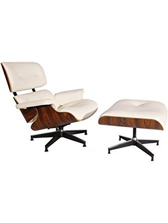 MCM Eames Style Lounge Chair with Ottoman (Cream White) - High Quality  Aniline Leather