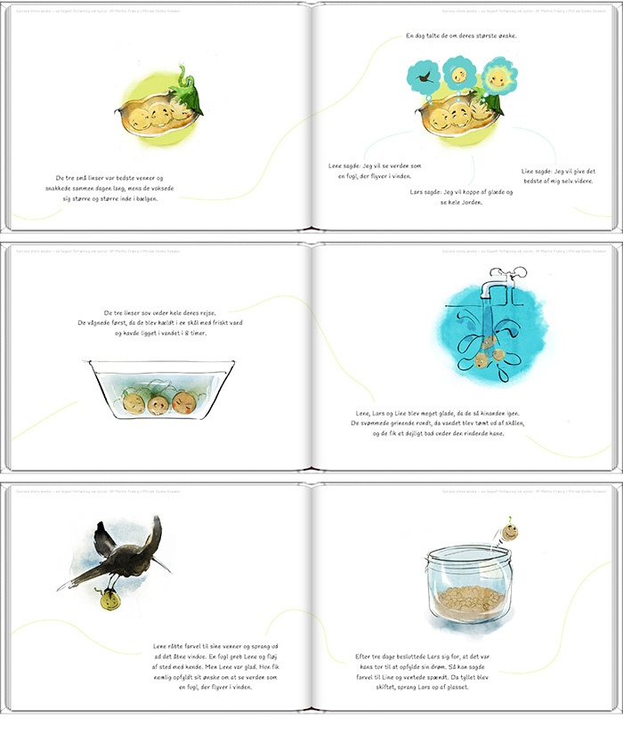 A illustration book (Danish) called 'Spirens Store Ønske'