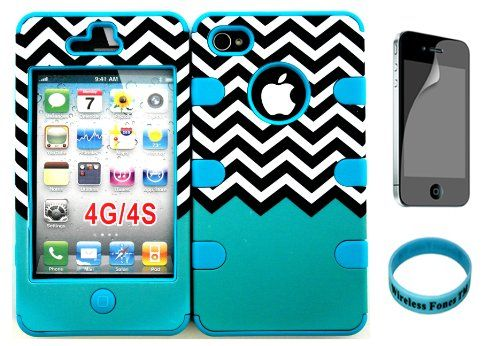 For Apple iPhone 4/4s Teal Block Chevron Waves Pattern Matte Finish Snap on + Teal Silicone Hybrid Case Cover with Screen Protector and Wristband Exclusively By Wirelessfones TM. Combo pack with Phone Case,Screen protector,and Wireless Fone's wristband included. Combo Hybrid Heavy Duty Impact Bumper Double Layer Cover Case. Personalize the look of your phone with this Brand New, stylish and fashion design case cover. Ideal for replacing broken, cracked, damaged, marked or dirty cover…