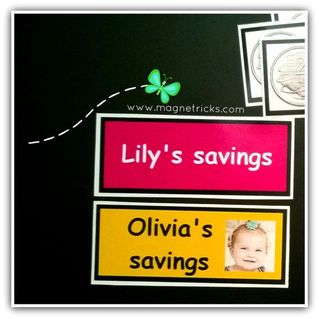 My savings name magnets