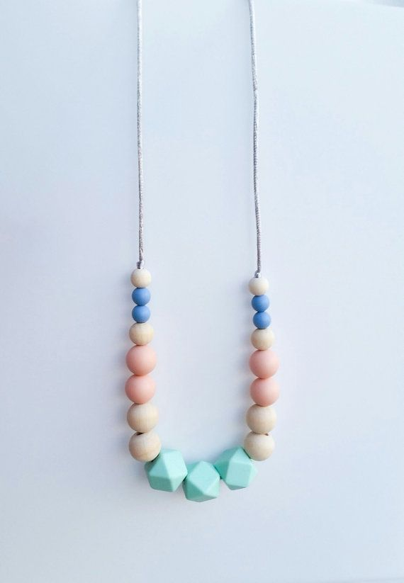 Wood and Silicone Teething Necklace- Natural Nursing Necklace- Silicone Chewelry- Baby Chew Beads- Sensory Development- Trendy Mom Jewelry