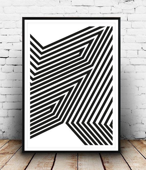 Abstract print minimalist art op art poster van Wallzilla op Etsy