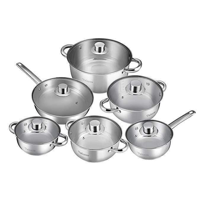 Velaze 12 Piece Stainless Steel Cookware Set Classic Nonstick