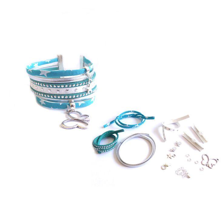 Kit Bracelet manchette liberty de lawn bleu turquoise, suédine et cuir : Kits, tutoriels bijoux par mf-apprets-et-perles