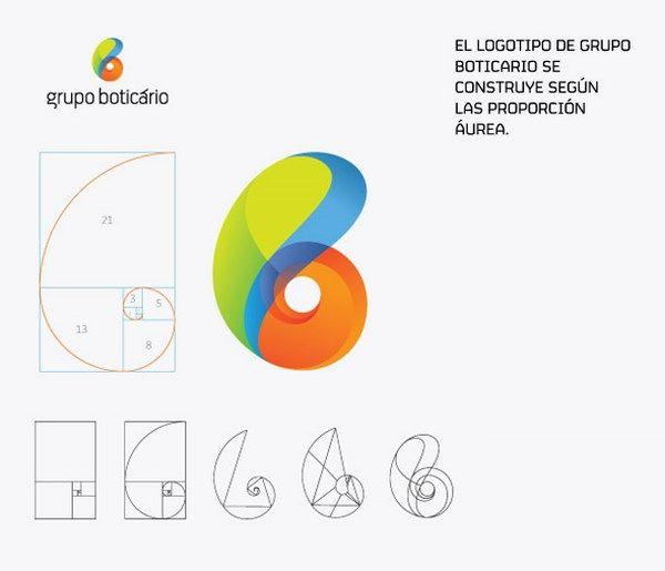 El logotipo de Grupo Boticario fue creado por la oficina brasileña de Futurebrand . Es quizás uno de los casos más obvios en los que encontramos las proporciones áureas.
