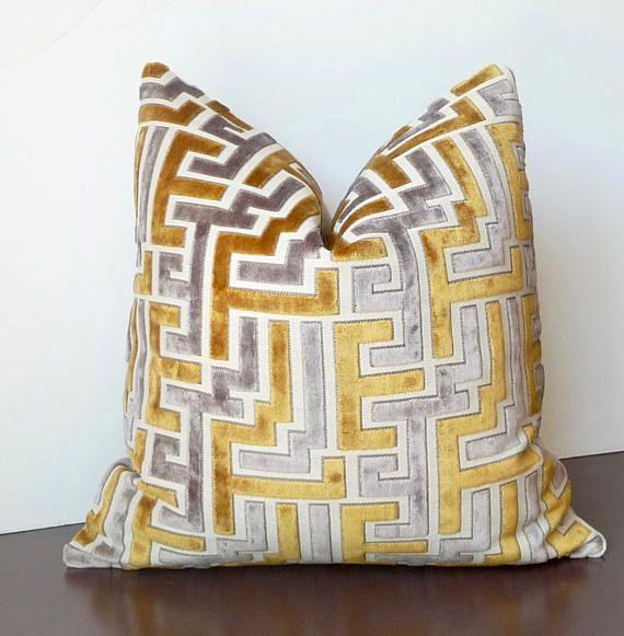High End Designer Throw Pillows Part - 50: Cut Velvet Gold Grey Designer Pillow, High End Pillow, Luxury Pillow,  Geometric Velvet