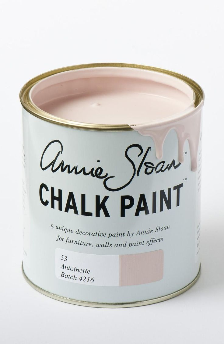 """How to Decorate with Pantone's Rose Quartz and Serenity - """"Antoinette"""" paint, $30 per liter; at Annie Sloan"""