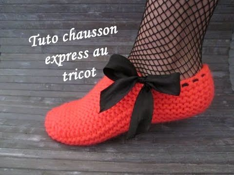 CHAUSSON FEMME EXPRESS AU TRICOT Slippers knitting ZAPATILLAS PANTUFLAS TEJIDOS DOS AGUJAS - YouTube