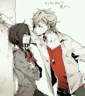 Beaten up anime couple.