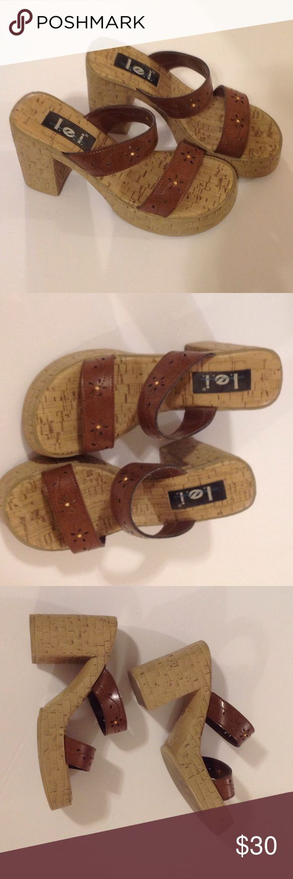 l.e.i. Boho Hippie Faux Cork-like Fat Heels Scrappy man made 4 inch heel with a hippie flair. l.e.i Shoes Mules & Clogs