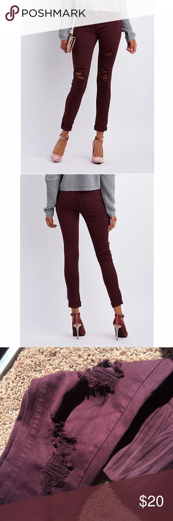 "Refuge Skinny Boyfriend Jeans - Burgundy Excellent condition! Ripped up knees, ankles are looser so you can roll them up. Color is ""Winetasting"". Fits a large 2 Charlotte Russe Jeans Skinny"