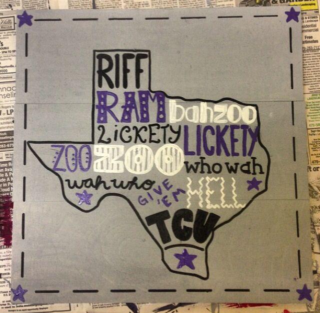 Texas Christian University TCU wood panel craft. Texas. Riff Ram.