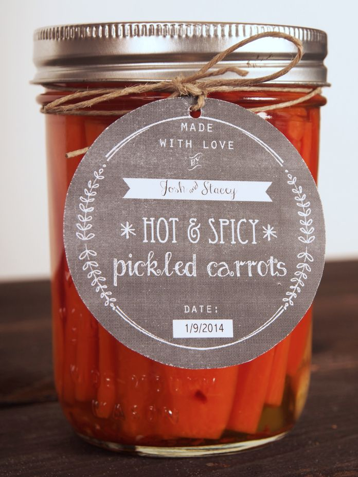 """[ Recipe: Spicy Pickled Carrots ] Made with: garlic, jalapeño peppers, red pepper flakes, """"pickle crisp"""", carrots, distilled white vinegar, and sugar. ~ from Sweet Little Sparrow"""