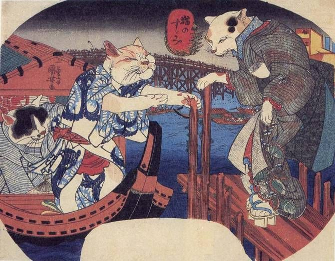 Cats Enjoying the Evening Cool | ukiyō-e woodblock print, 1839-1842 | Utagawa Kuniyoshi