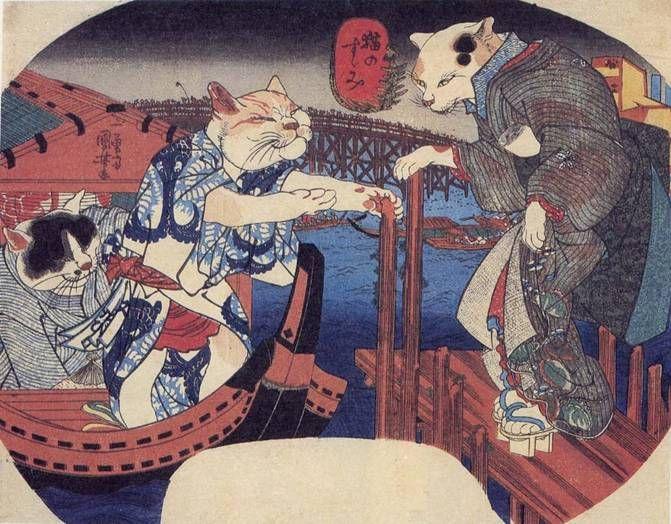 Cats Enjoying the Evening Cool | ukiyō-e woodblock print, 1839-1842 | Utagawa Kuniyoshi