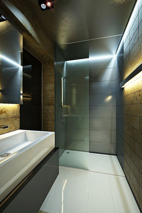 Love the lighting, not the bathroom itself (way too dark)