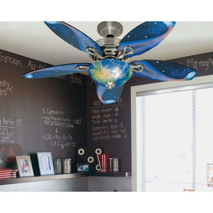 The Hunter Discovery Ceiling Fan Features 5 Reversible Blades And A World  Globe Design On The