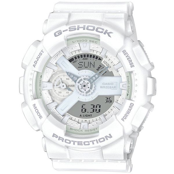 G-Shock Watch S Series Womens White Resin Band (7.560 RUB) ❤ liked on Polyvore featuring jewelry, watches, resin watches, white watches, white jewelry, casio wrist watch and casio watches