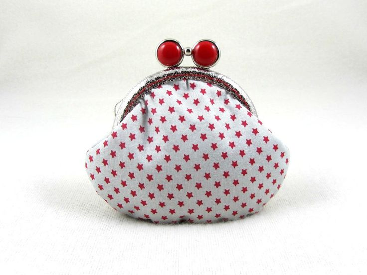 Red star coin purse, frame coin pouch, kiss lock purse, cotton coin purse, for her, handmade in France, change purse, by JRsbags on Etsy