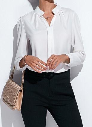 Solide Lässige Kleidung Chiffon V-Ausschnitt Lange Ärmel Hemd
