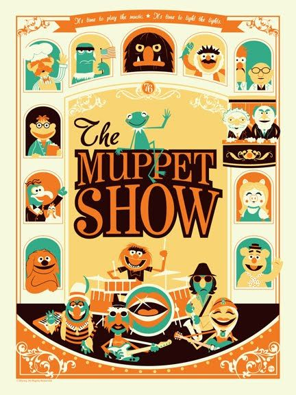 Muppet Show poster - by Dave Perillo | www.montygog.blogspot.comOld Schools, Posters Prints, Dave Perillo, Illustration, Themuppetshow, The Muppets Show, Colors Schemes, Graphics, Fans Art