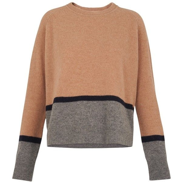 Whistles Boiled Wool Sweater, Multi featuring polyvore, women's fashion, clothing, tops, sweaters, boiled wool sweater, camel sweater, long sleeve tops, patterned tops and long sleeve sweater