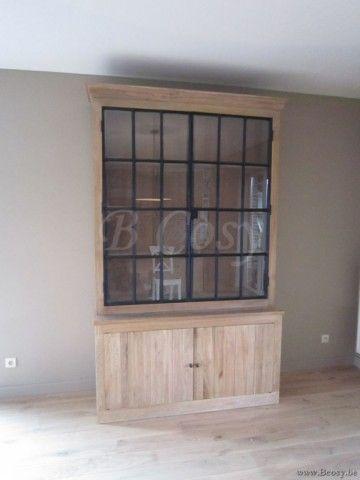 "PR Interiors Alice vitrinekast in weathered oak-eik met zwarte stalen deuren 150<span style=""font-size: 0.01pt;""> PR-Rogiers-Home-Interiors-CRW/204/01 vitrine-vitrinekast-vaisselier-vaisseliers-uitstalkast-uitstalkasten-vitrines-vit </span>"