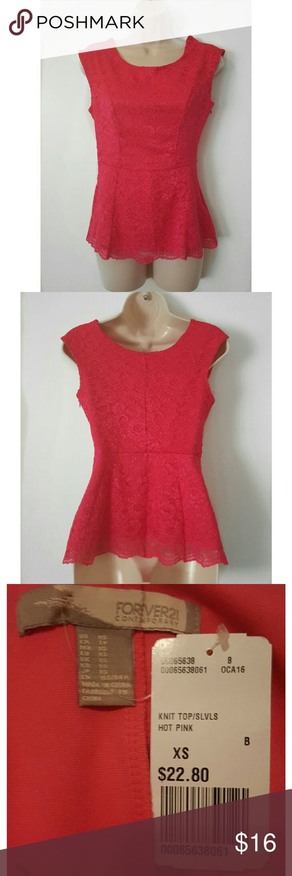 Hot Pink Lace Peplum Top NWT Size XS  New with Tag  Side Zipper  Sleeveless Forever 21 Tops