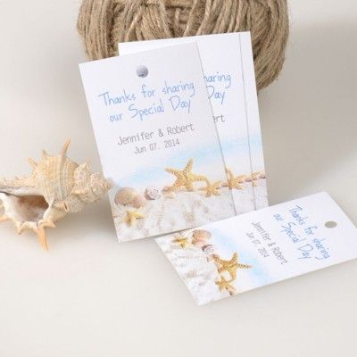 Summer Beach Themed Wedding Favor Tags Gift Cards EWFR021