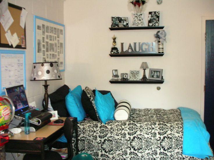 Dorm Bedding For Girls : Lack, White, Teal, Flocked Dorm Part 69