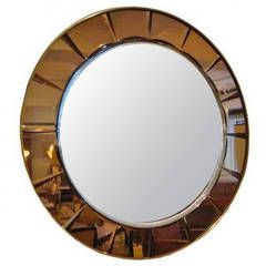 Large Round Midcentury Wall Mirror by Crystal Arte