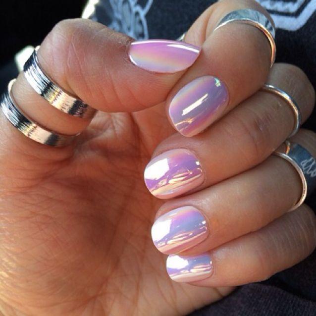 pastel hologram nails