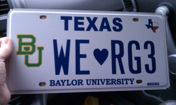 #Baylor loves #RG3! The license plate belongs to the husband of Baylor professor Rochelle Brunson. #SicEm #RGIII